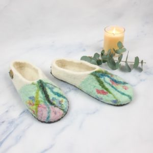 floral felted slipper