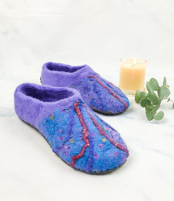 purple blue felt slipper