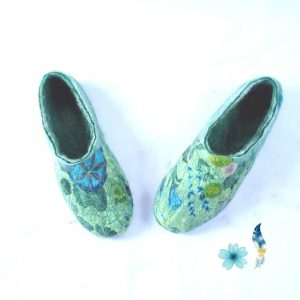 green-floral-house-shoe